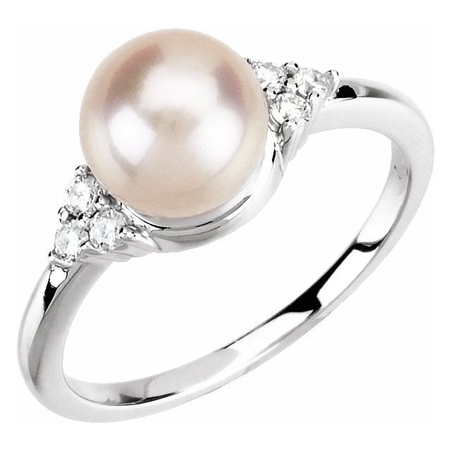 14K White Gold 7.5-8 mm Freshwater Cultured Pearl & 1:8 CTW Diamond Ring from Leonard & Hazel™