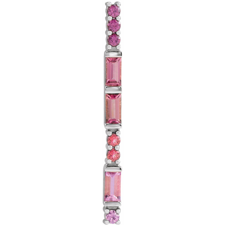 14K White Gold Pink Multi-Gemstone Bar Pendant from Leonard & Hazel™