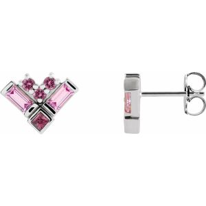 14K White Gold Pink Multi-Gemstone Cluster Earrings from Leonard & Hazel™