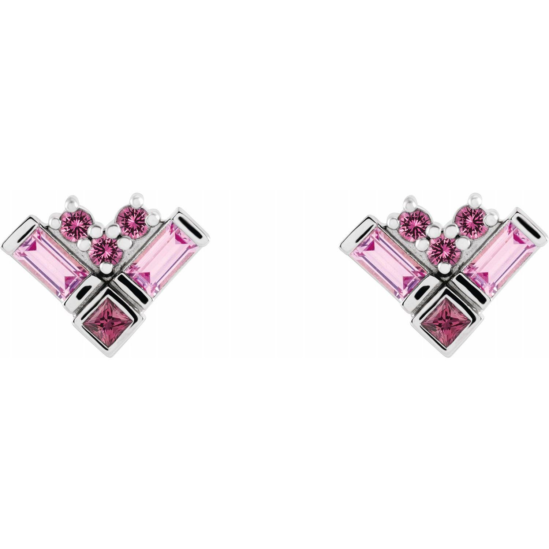 14K White Gold Pink Multi-Gemstone Cluster Earrings from Leonard & Hazel™