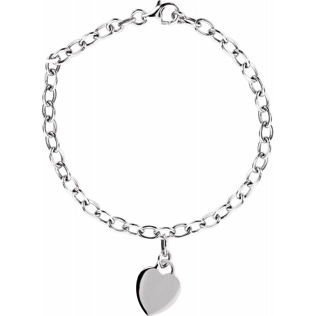 Sterling Silver Rolo 7.5 Bracelet with Heart Charm from Leonard & Hazel™