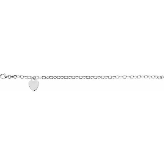 Sterling Silver Rolo 7.5 Bracelet with Heart Charm from Leonard & Hazel™