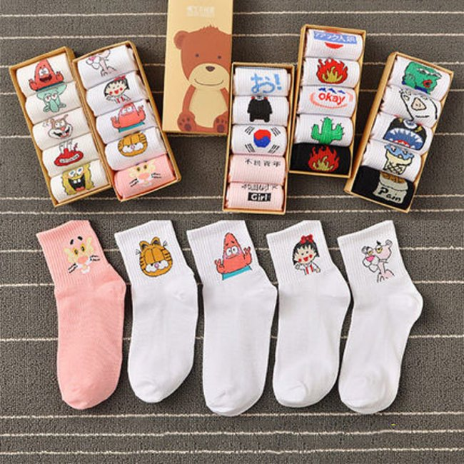 Cartoon Printed Short Socks