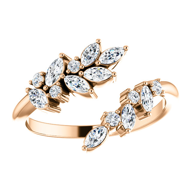 14K Rose Gold 1:2 CTW Diamond Bypass Ring from Leonard & Hazel™