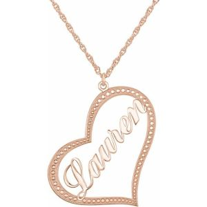 14K Rose Gold Nameplate Heart Necklace from Leonard & Hazel™