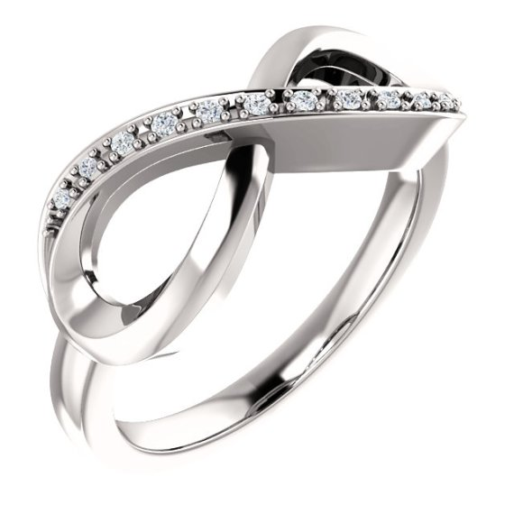 14K White Gold .05 CTW Diamond Infinity-Inspired Ring from Leonard & Hazel™
