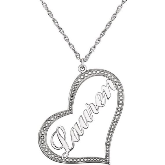 14K White Gold Nameplate Heart Necklace from Leonard & Hazel™