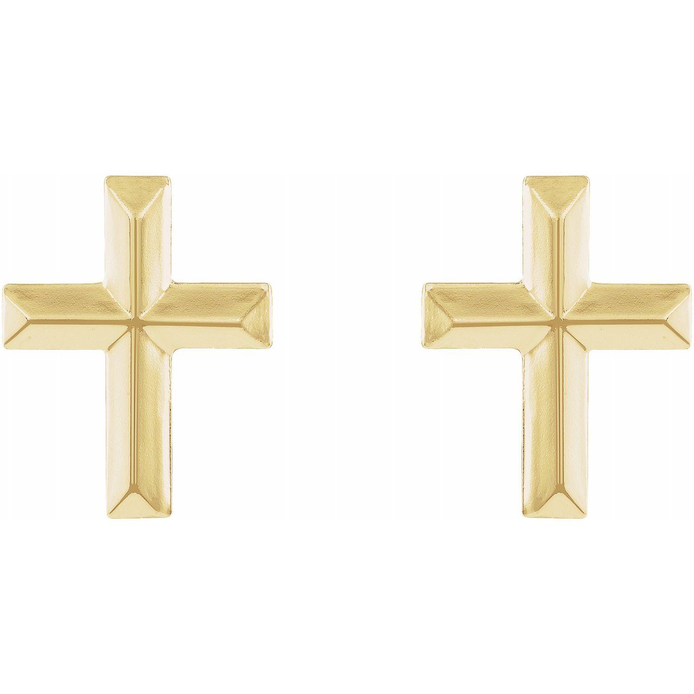 14K Yellow Gold Cross Earrings from Leonard & Hazel™