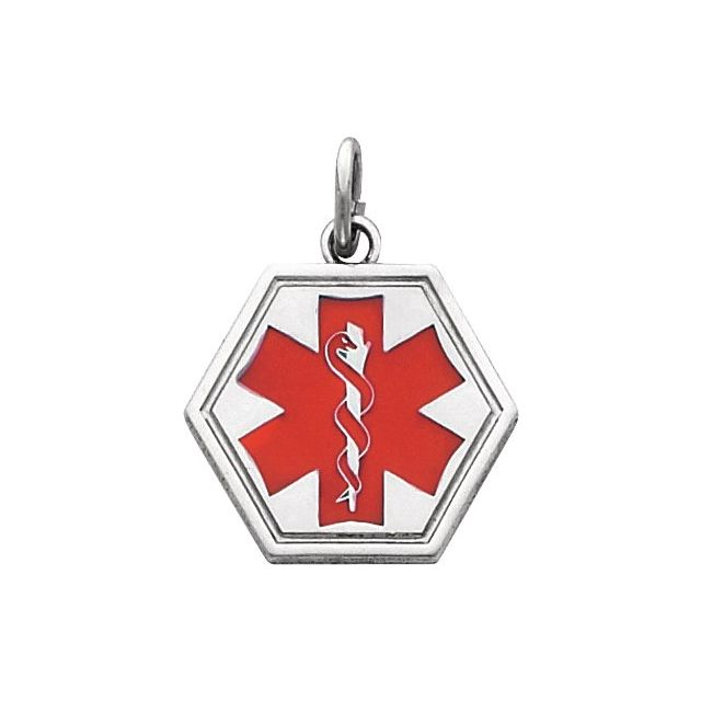 Medical Identification Pendant - Sterling Silver