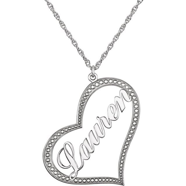 Sterling Silver Nameplate Heart Necklace from Leonard & Hazel™
