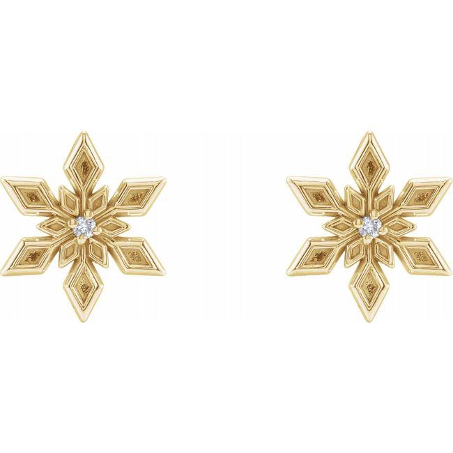 14K Yellow Gold Diamond Snowflake Earrings