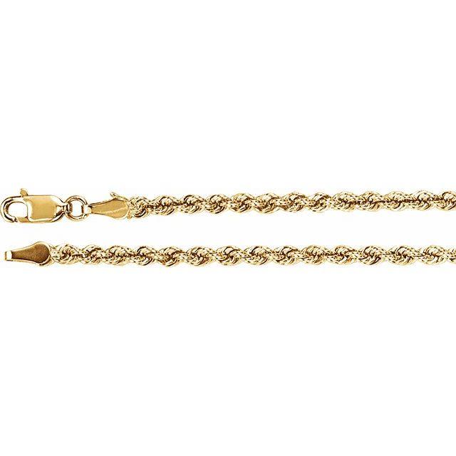 14K Yellow 3mm Rope Chain