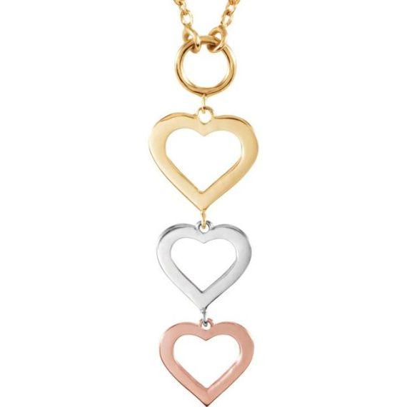 14K Gold Tri-Color Heart Necklace