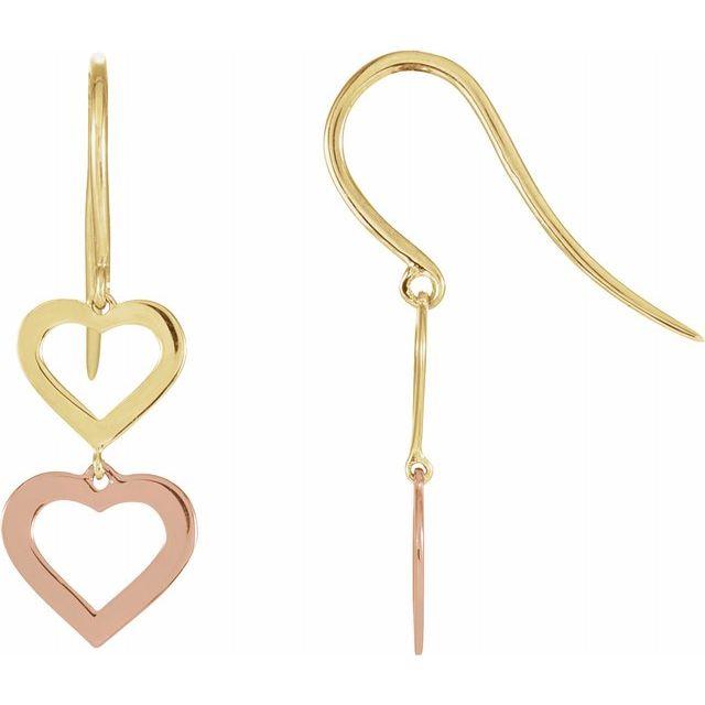 14K Yellow & Rose Heart Design Earrings from Leonard & Hazel™