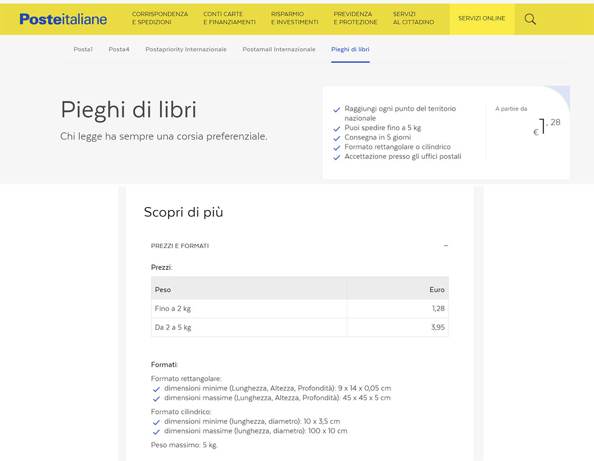 """uno screen dal sito di poste italiane sulla spedizione """"piego di libri"""""""