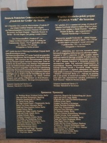 """Tablica upamiętniająca projekt """"Fryderyk Wielki dla Szczecina"""""""
