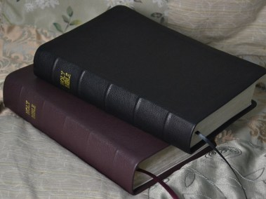 Black and Maroon Pebble Grain Cowhide Bibles