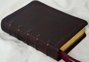 The deep mahogany Bible was created for a busy mom's compact=