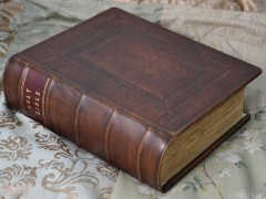 A real early 18th Century Bible in our period binding, in a hand-dyed English calfskin