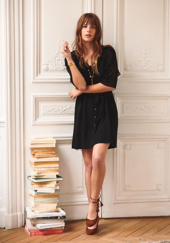 french girl with black dress