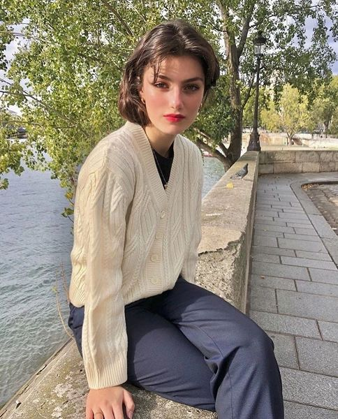 french girl with cardigan