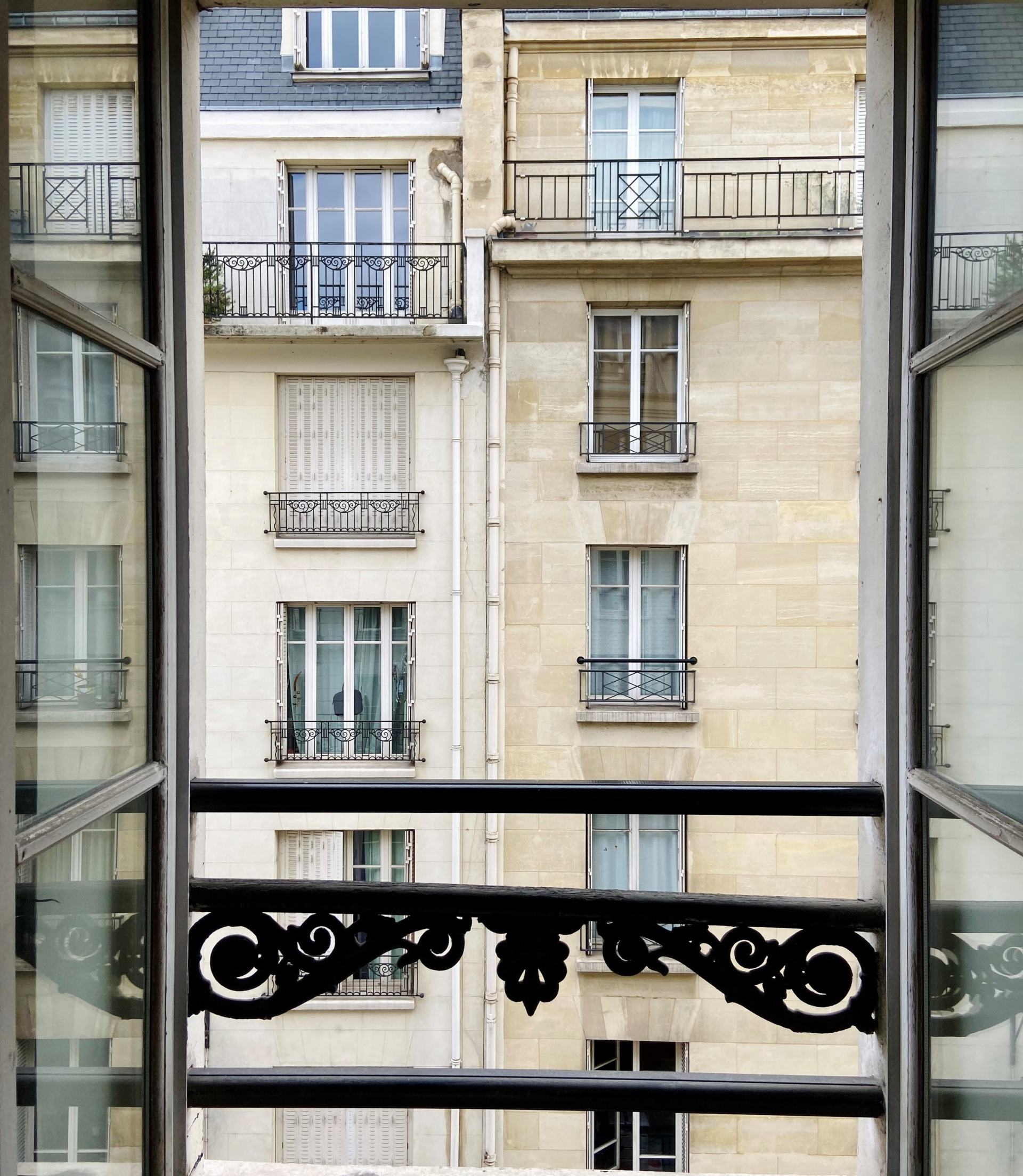 View of Paris Haussman building from window
