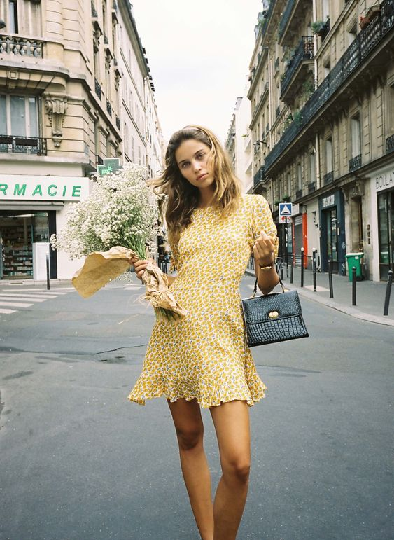 french girl with a french summer floral dress