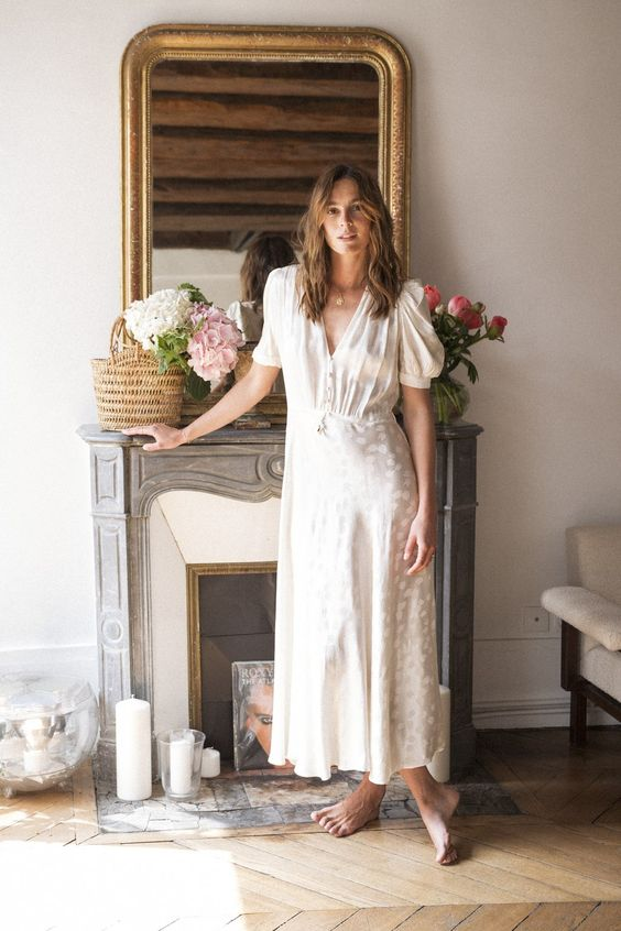 parisian girl with a french summer white dress
