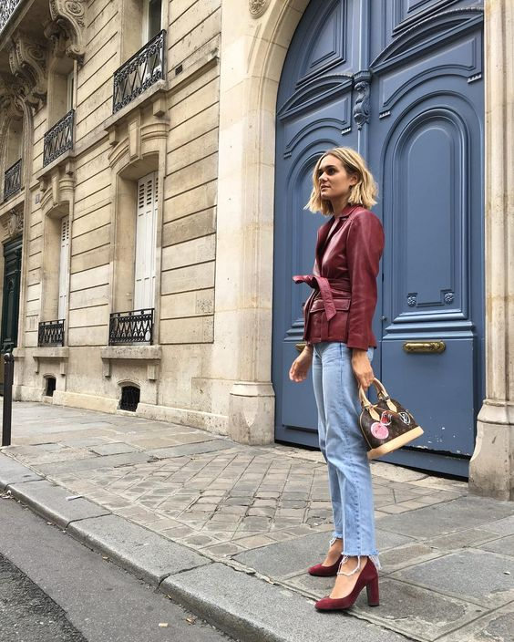 french girl fall style jeans