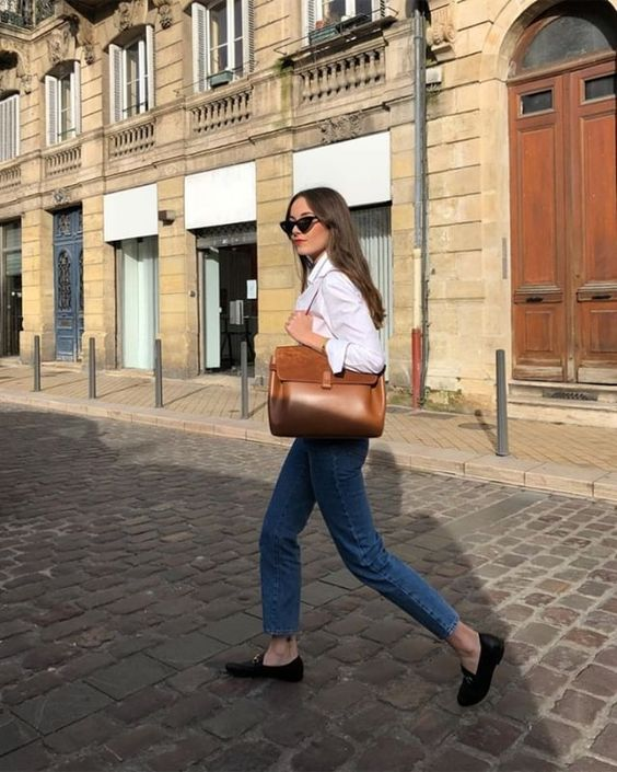 french girl fall style loafers