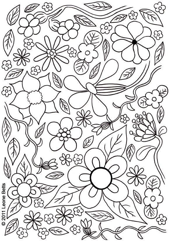 Free Printable Kids Colouring: Summer Flowers