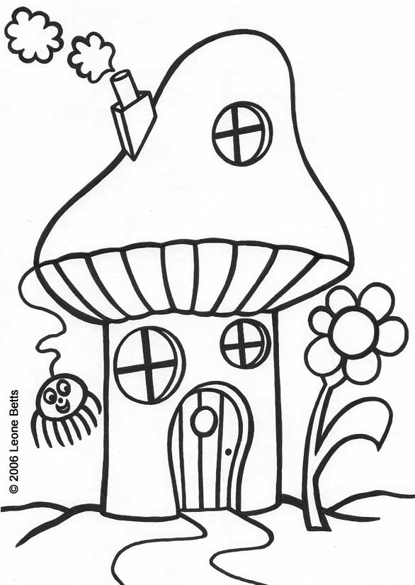 Free Printable Kids Colouring: Toadstool House