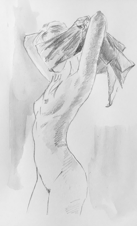 nude drawing fetish blindfold