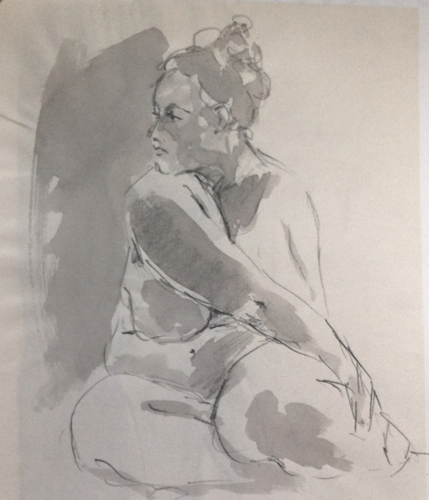 BBW nude girl drawing