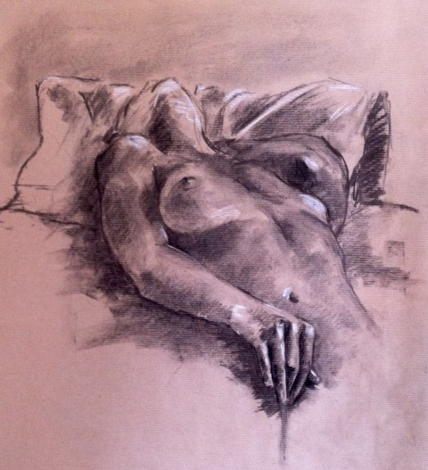nude girl drawing masturbation