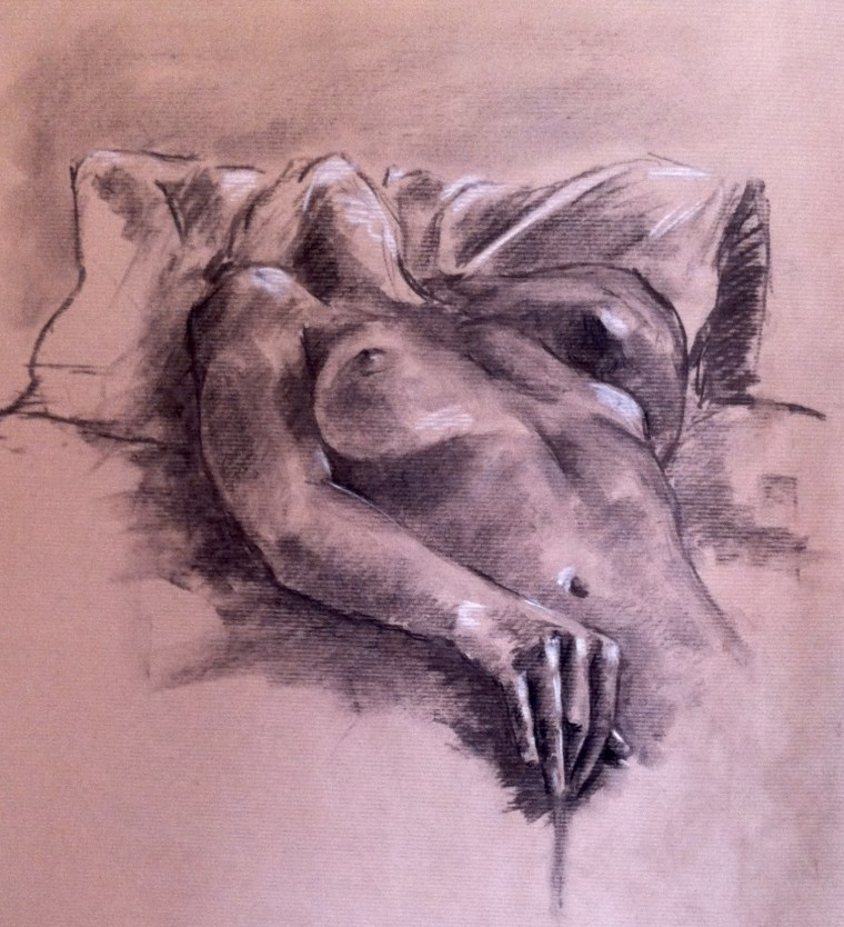nude girl drawing masturbation