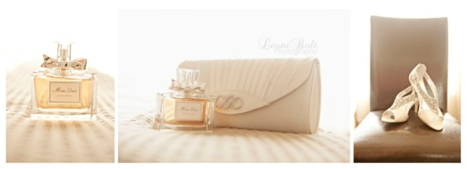 Bride's perfume, bag & shoes
