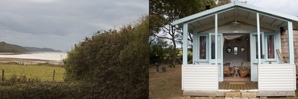 view from the front room and a pic of the shack