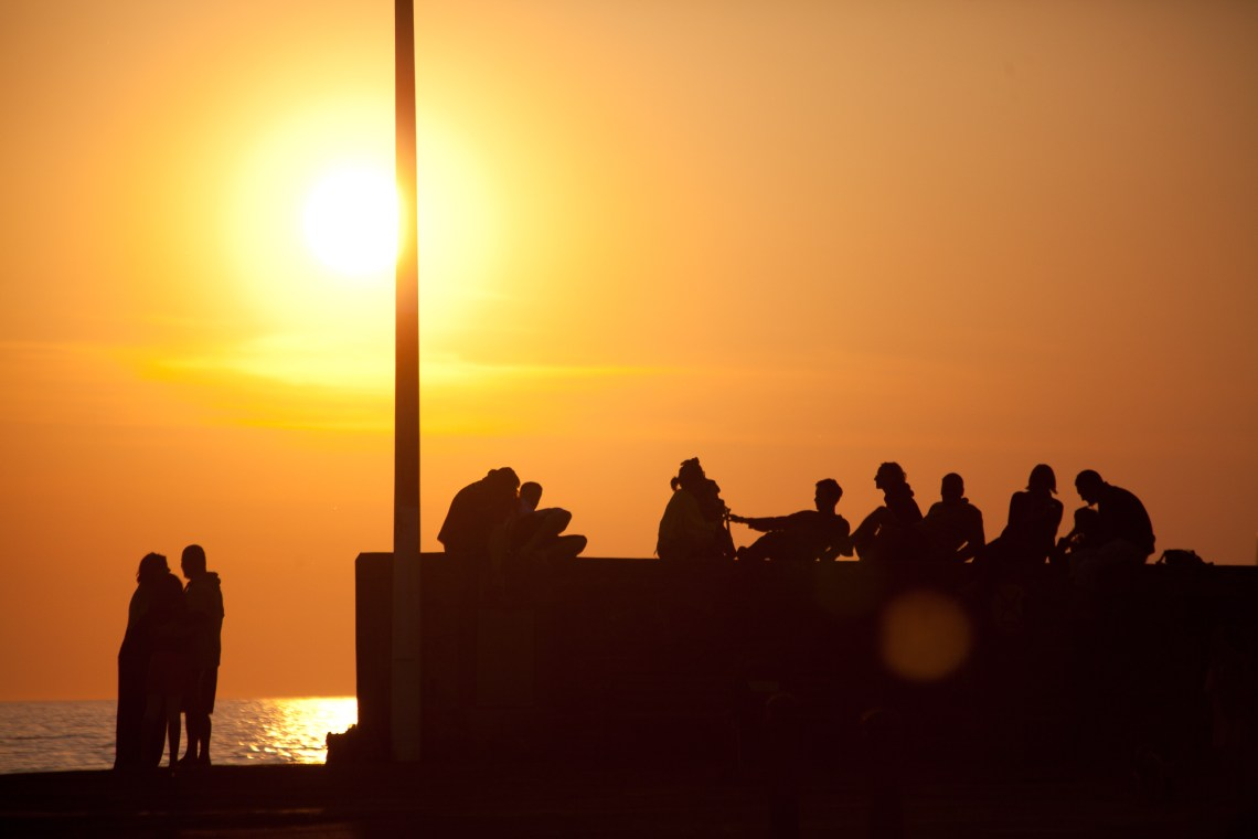 Silhouettes at sunset in Wales. By Leonie Wise
