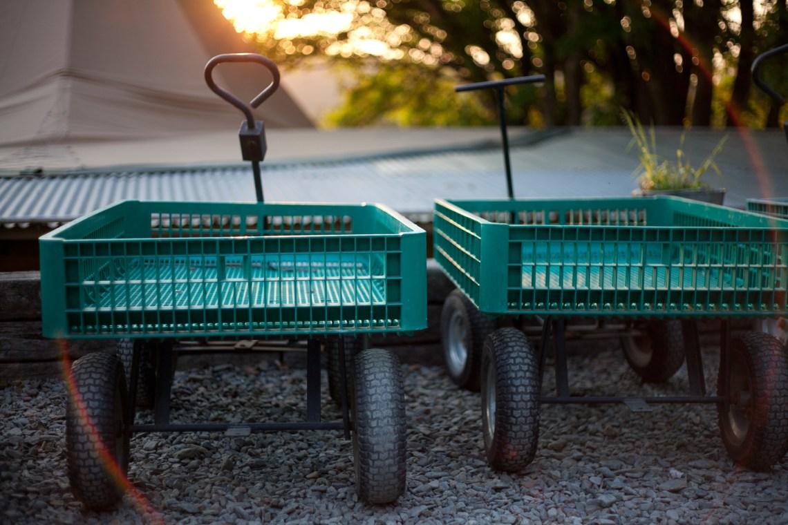 Green trolleys at Fforest Camp. By Leonie Wise