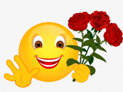Smiley – drei rote Rosen