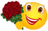 Smiley – rote Rosen