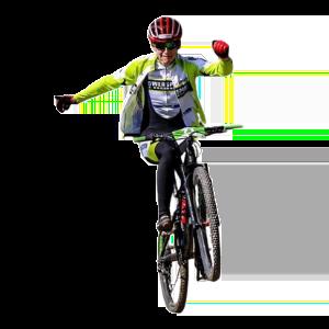 Mountainbike freihändig fahren auf Hinterrad