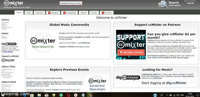 Скачать бесплатно фоновую музыку в ccMixter