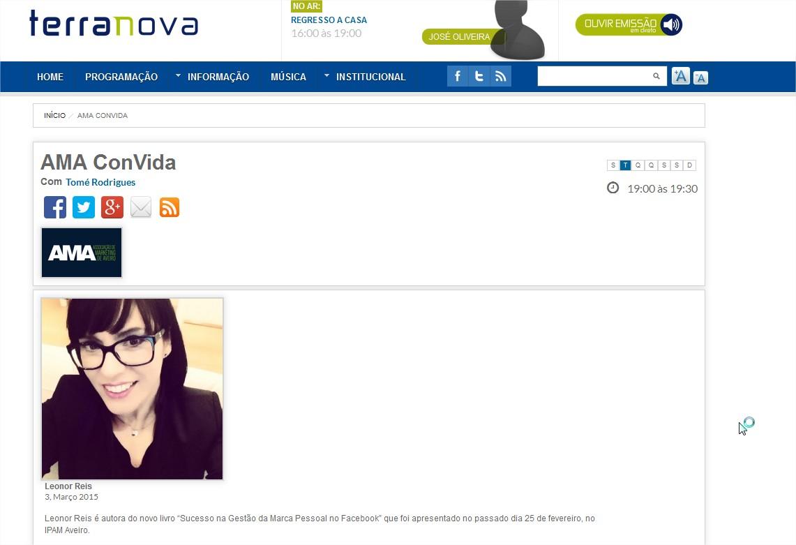 Entrevista de Leonor Reis no programa AMA ConVida