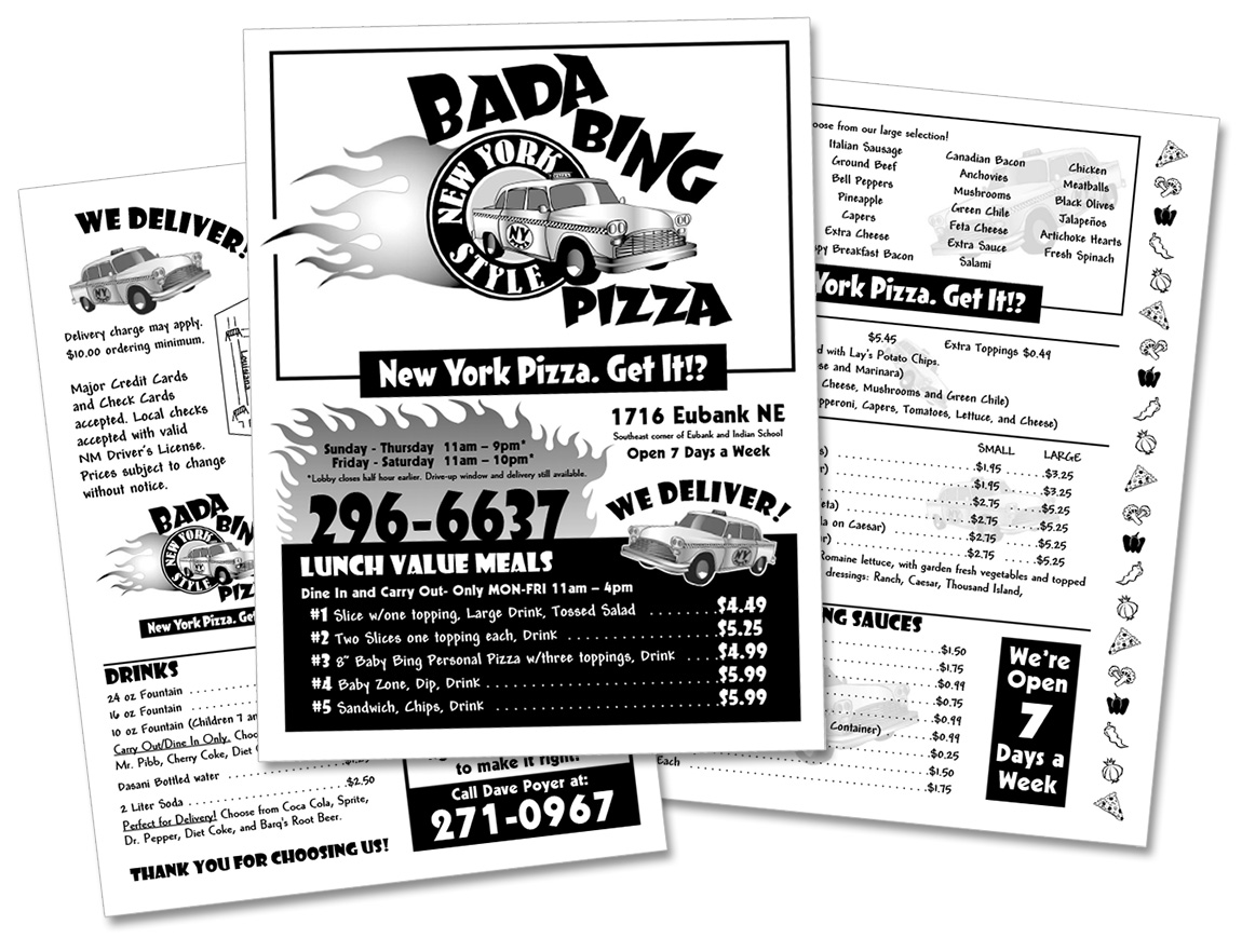 Menu for Bada Bing Pizza