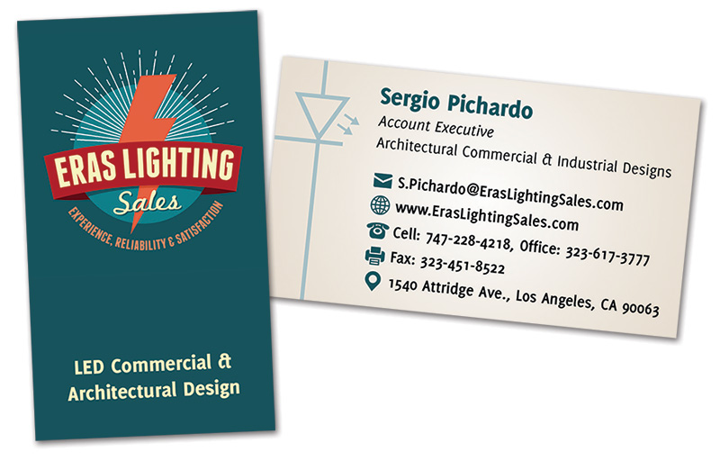 Business card design for ERAS Lighting