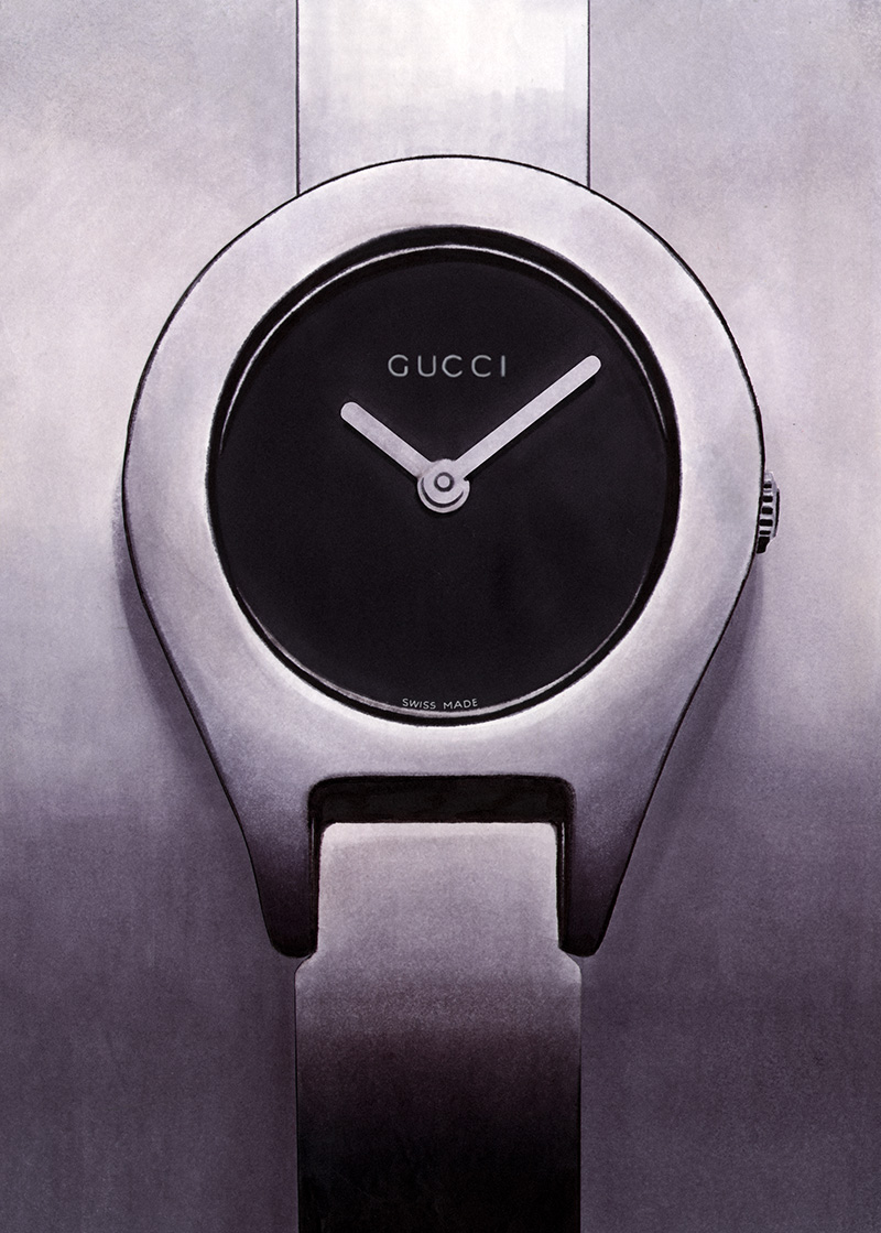 Illustration of a Gucci watch created with art markers (school project)