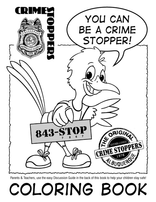 Cover for the Albuquerque Metro Crime Stoppers Coloring Book for Children