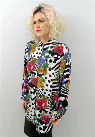 Vintage 80s Floral Polka Dot Shirt - £20.00 with FREE SHIPPING